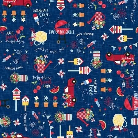 1 Yard Cut - Kimberbell Red White and Bloom Main Allover on Navy - Maywood Studio Fabrics