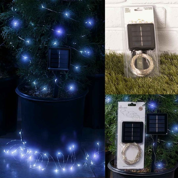 White 100ct Firefly Solar String Lights
