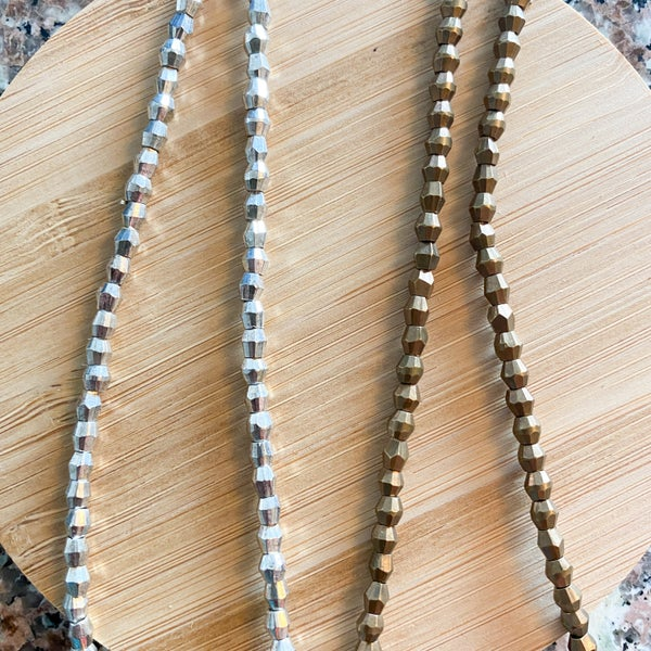 3.5mm Faceted Bicone Brass Metal Strands (two finish colors)