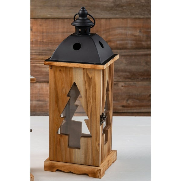 15.5 inch Tree Cut Out Lantern