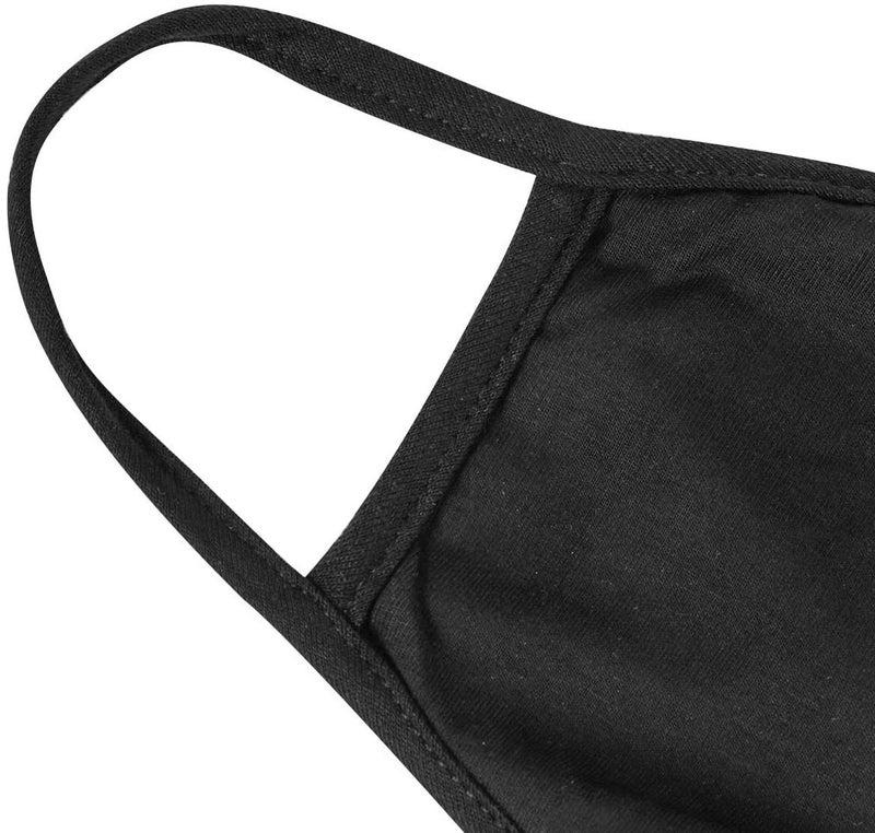 3 Pack Black Fashion Protective Face Covers, Unisex Black, Washable