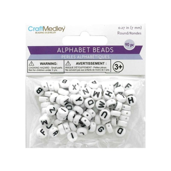 7mm Round Alpha Bead, 90pc (3 choices in color)
