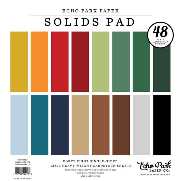 Outdoors Solids 12 inch x 12 inch Paper Pad