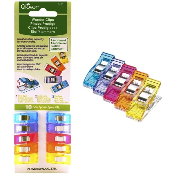 Clover Wonder Clips 10 Count Starter Pack - Assorted Colors