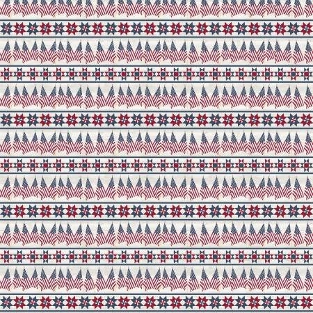 1 Yard Cut - Let Freedom Soar Border Stripe Red and Blue on Offwhite - Riley Blake Designs