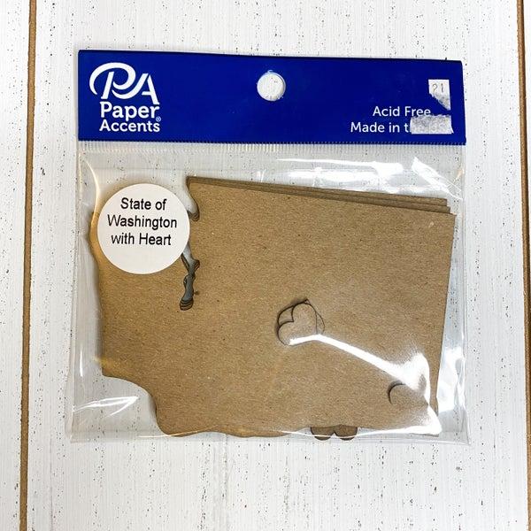 Chipboard Shapes- Washington w/ Hearts 4pcs