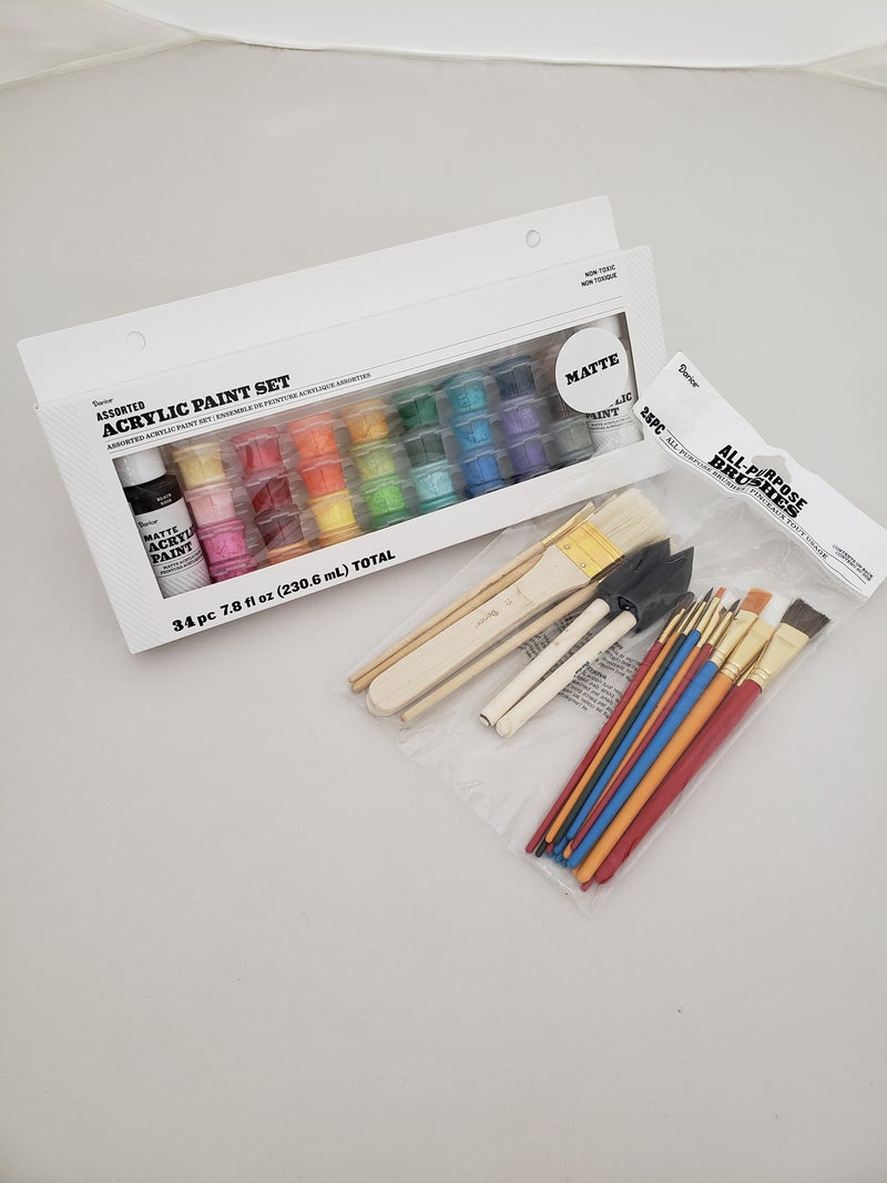 Matte 34ct Paint Pot Set with 25pc Brush Set Bundle