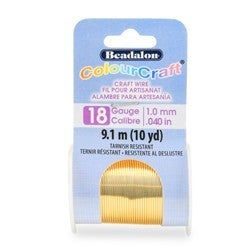 Craft Wire- 18GA Silver Plated Gold 10yd Spool