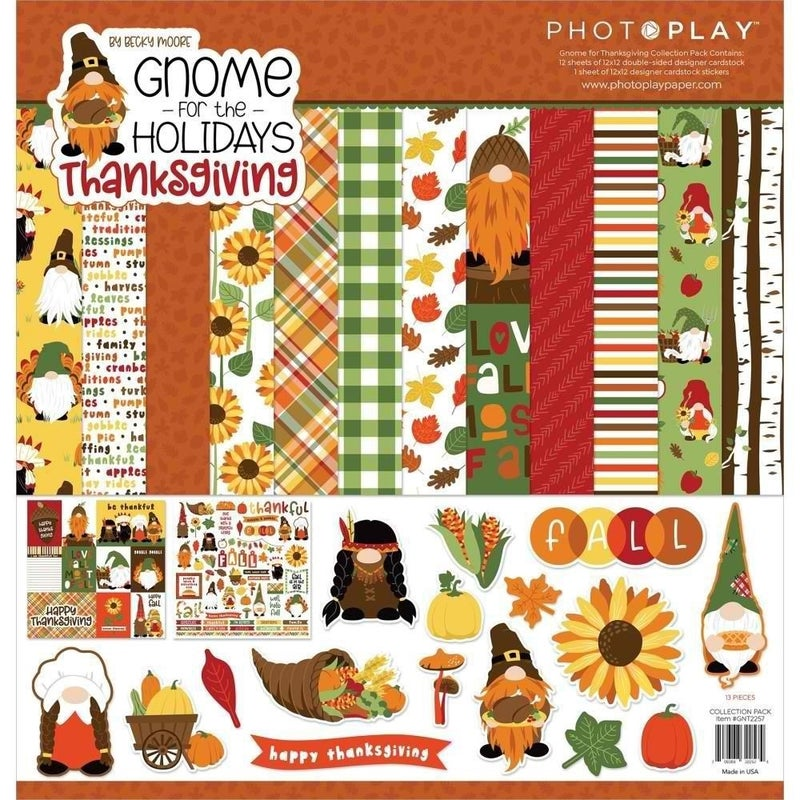 Photo Play Paper- Gnome For Thanksgiving 12x12 Collection Pack