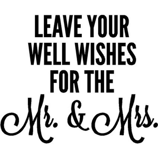 Rub-On Vinyl- Well Wishes For the Mr & Mrs