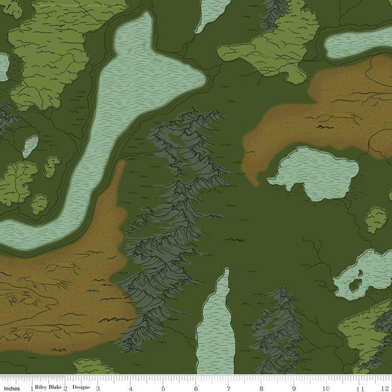 1 Yard National Parks Cut Fabric Panel, National Parks Map Green