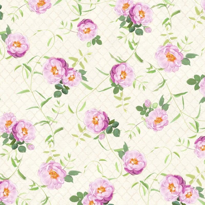 1 yard Cut - Flower Study Floral Vines Cream - Wilmington Fabrics