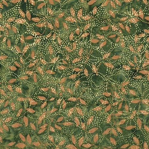 1 Yard Cut - Coco Cabana Batik Dot Hibiscus, Eucalyptus