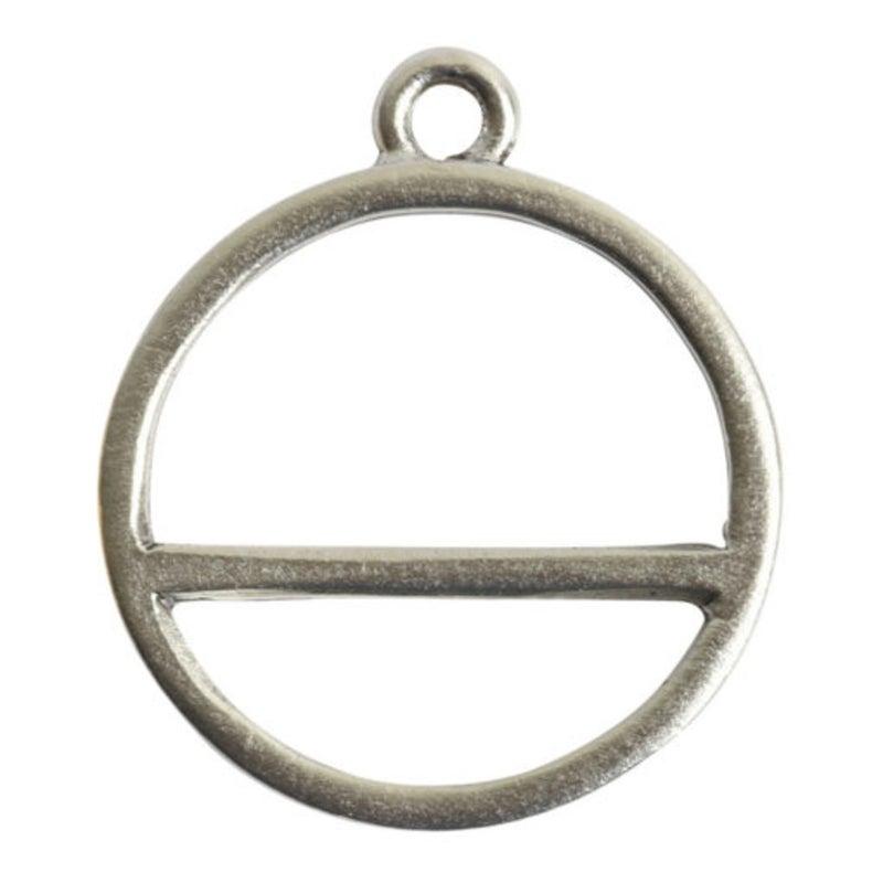Open Pendant Split Large Circle Horizon Single Loop- Antique Silver