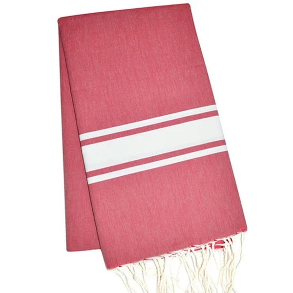 Traditional Fouta Burgundy & White