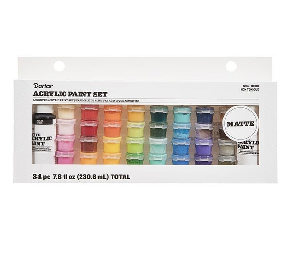 Acrylic Paint Pot Set: Matte, Assorted Sizes/Colors, 34 pack