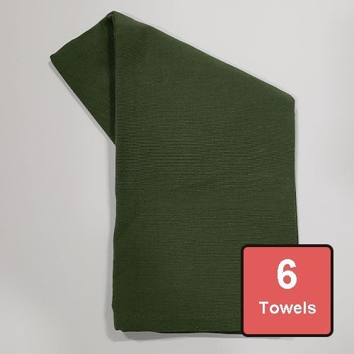 Vineyard Green Cotton Tea Towels 6pc