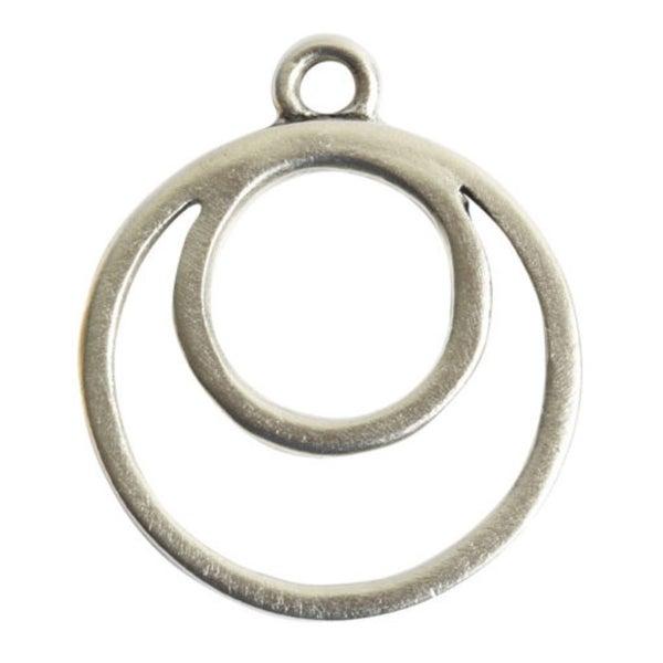 Open Pendant Split Large Circle Eclipse Single Loop- Antique Silver