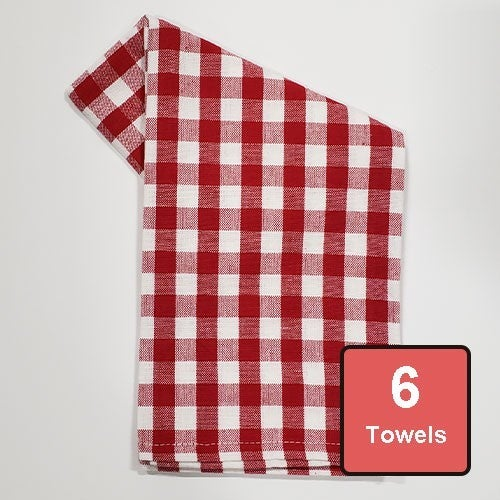 Red Check on White Cotton Tea Towels 6pc