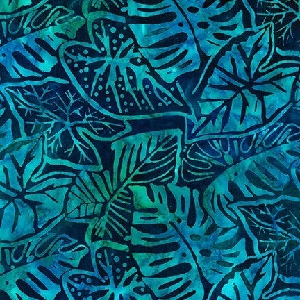 1 Yard Cut - Artisan Batiks Tropical Ocean Leaves in Ocean Blue - Robert Kaufman Fabrics