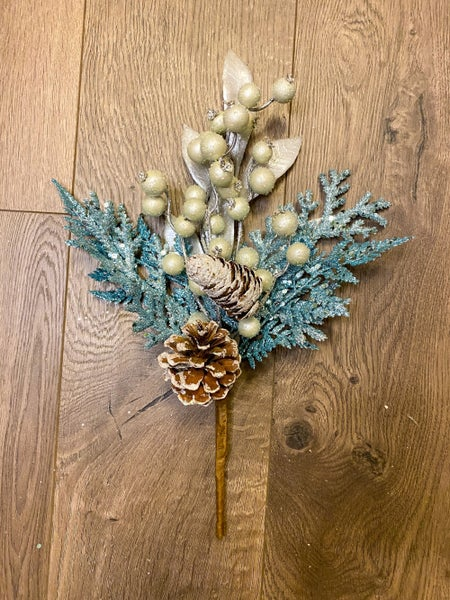 14 inch Winter Blue Fern Pick