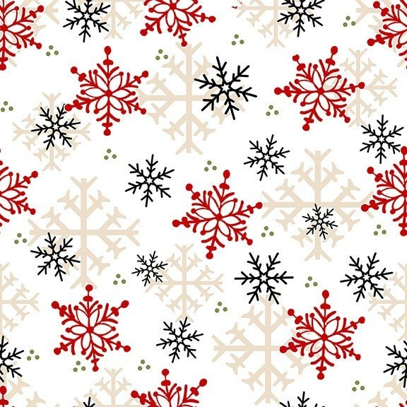 1 Yard Timber Gnomies Flannel 2-Ply Cotton Cut Fabric, Snowflakes