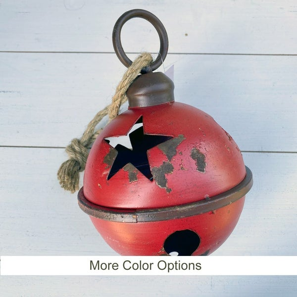 Medium Rustic Jingle Bell with Star Cut Outs