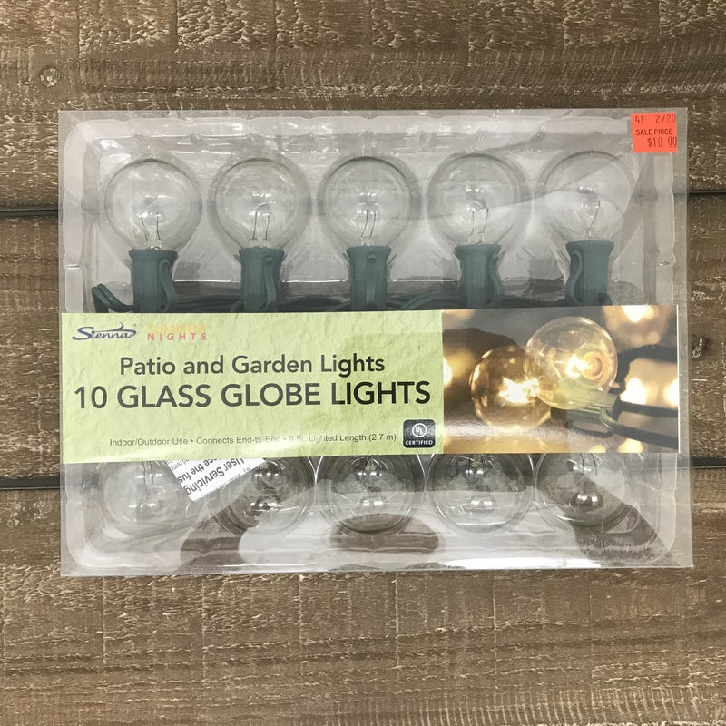 10 Light G40 Clear Green  Wire Globe LIghts