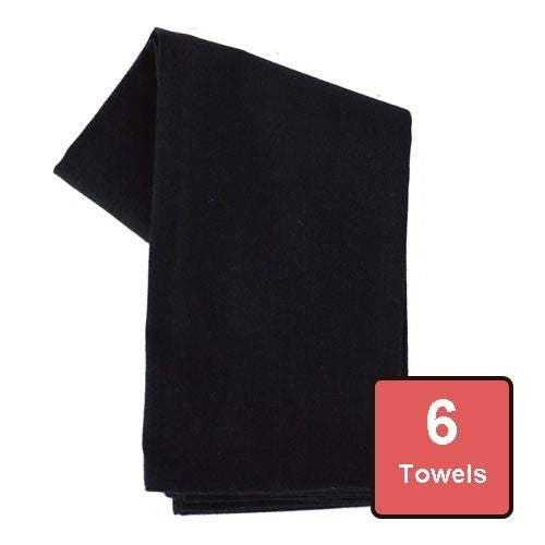 Black Cotton Tea Towels 6pc