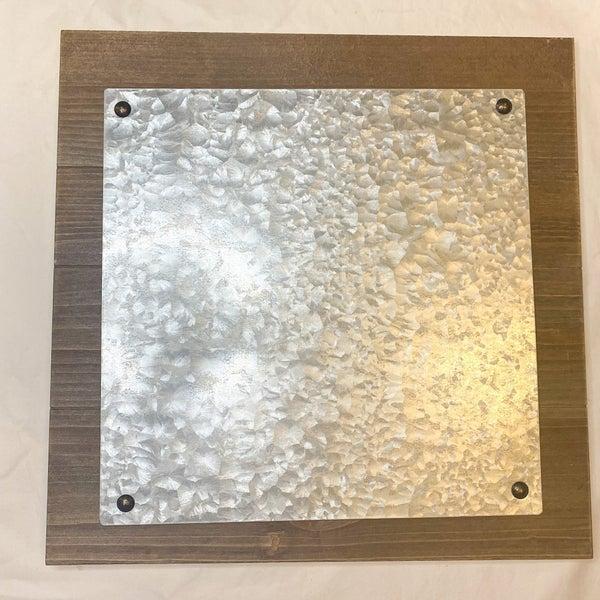 Wood Plaque W/ Metal Plate