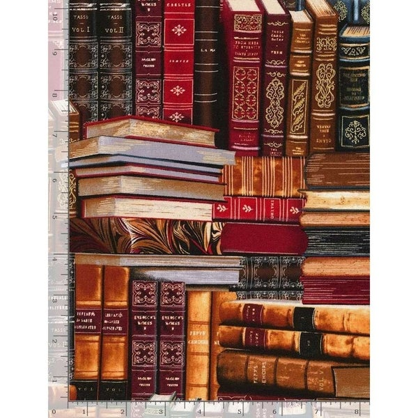 1 Yard Cut - Library Books with Metallic Highlights Fabric - by Timeless Treasures