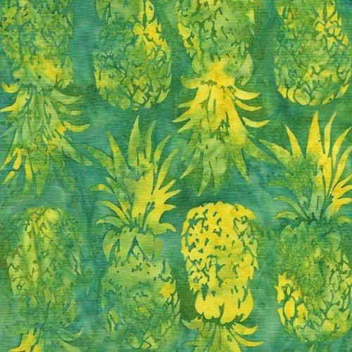 1 Yard Cut - Ohana Batik Pineapple Fabric, Lemon Lime