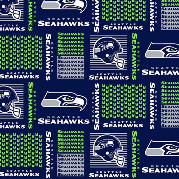 NFL Seattle Seahawks Block Allover on Navy fabric 1 yard