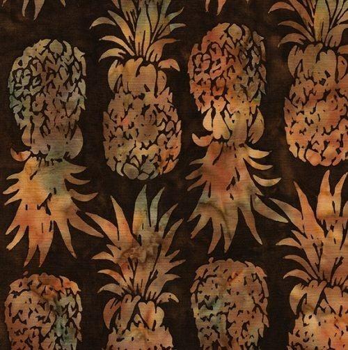 1 Yard Cut - Coco Cabana Batik Pineapple Fabric, Walnut