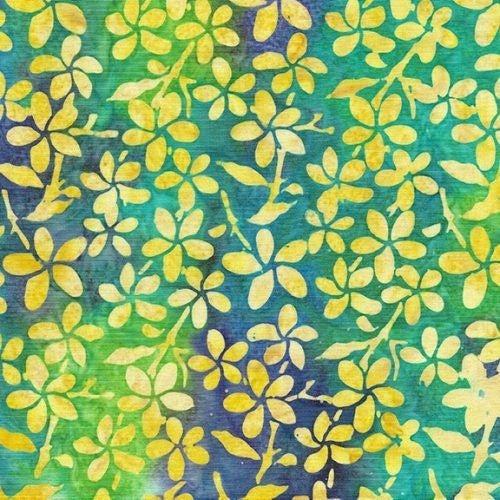 1 Yard Cut - Ohana Batik Plumeria Fabric, Bermuda