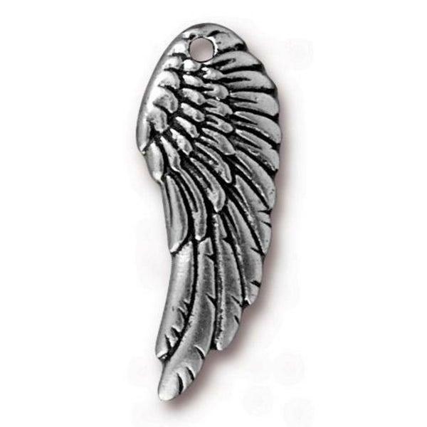 Tierra Cast- Left Angel Wing, Antiqued SIlver
