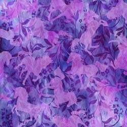 1 Yard Cut - Unicorns Unicorn Tonal Purple - Jason Yenter - In the Beginning Fabrics