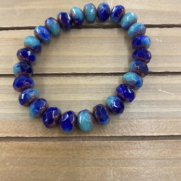 9x6mm Rondelle Bead Strand-  Royal Blue Turquoise Mix with Bronze Finish