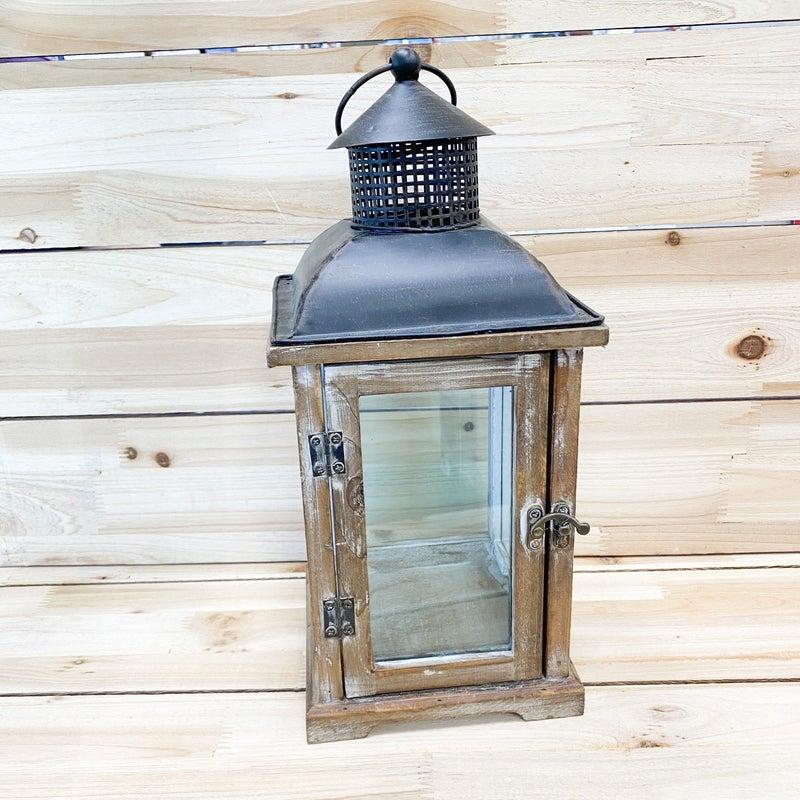 Wood Lantern With Metal Top
