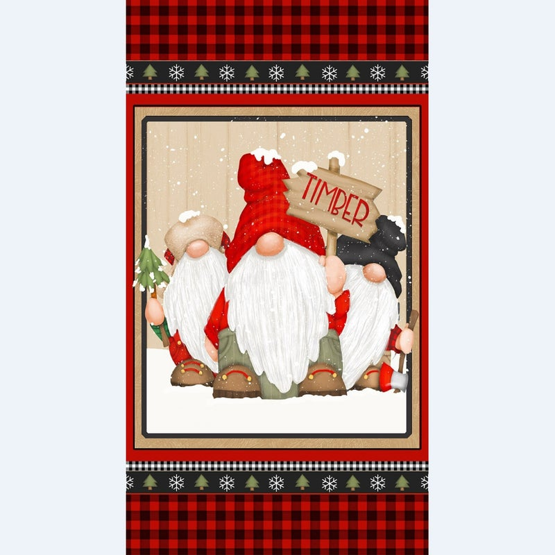 24-inch x 44-inch Flannel Fabric Panel Timber Gnomies, Gnome Trio