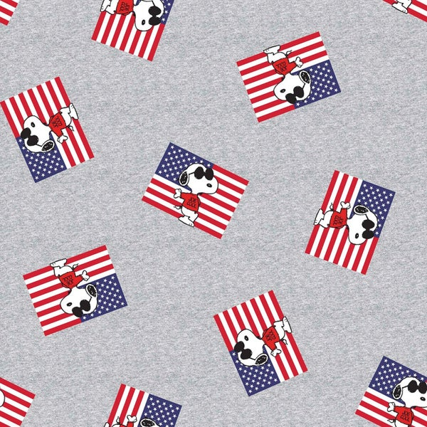 1 Yard Cut - Snoopy as Joe Cool with Flags Licensed Fabric