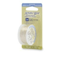Artistic Wire- 26 Gauge Silver Plated Pearl Silver, 15 yd