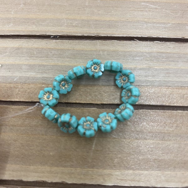 7mm Hibiscus Flower Turquoise Opaque  Bronze Wash
