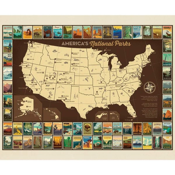1 Yard National Parks Cut Fabric Panel, National Parks Map