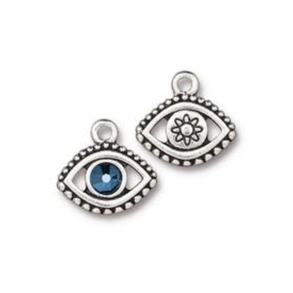 Evil Eye Charm With Swarovski (Choose From Two Colors)