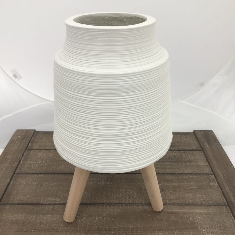 "Striped White Resin Pot with Dowel Legs, 20"" Tall"