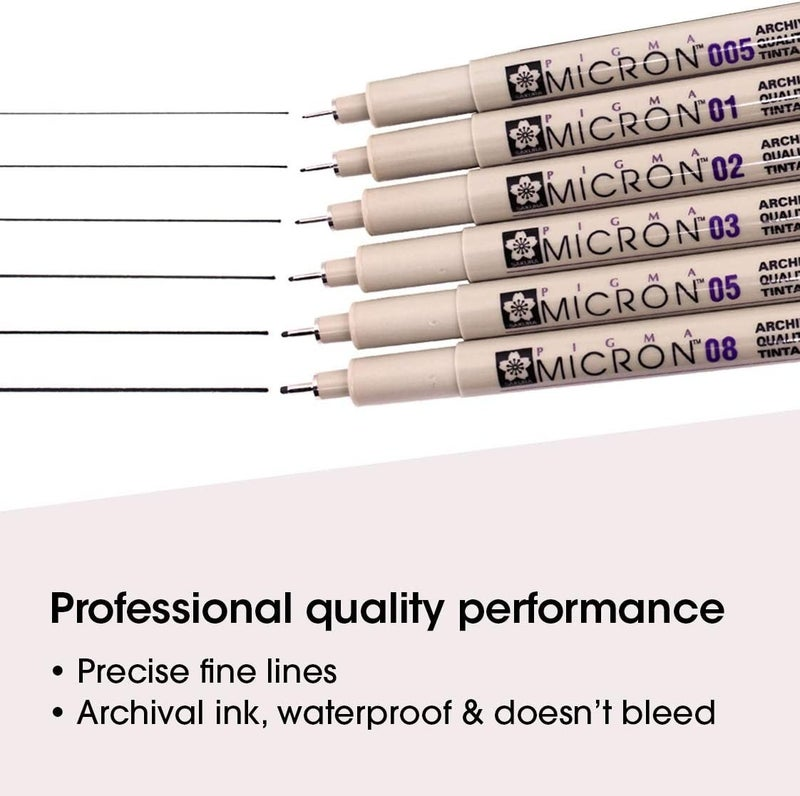 Micron Pigma Marker Set, 6 Piece, Black, Sizes 005,01,02,03,05,08
