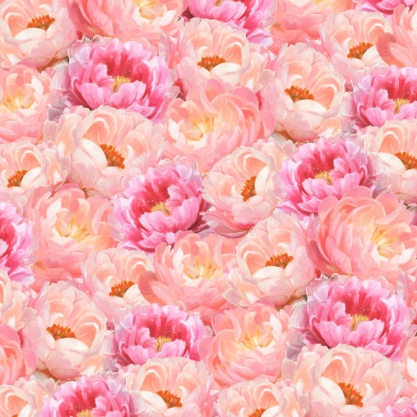 1 yard Cut - Flower Study Peonies Peach and Red - Wilmington Fabrics