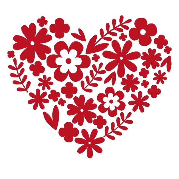 Rub-On Vinyl- Red Floral Heart