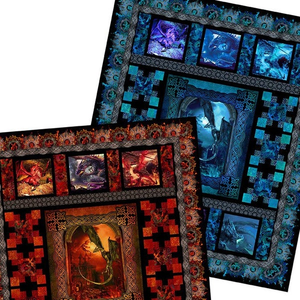 Dragons Quilt Pattern - Red and Blue Options Included